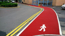 P5 Red Tarmac Footpath Surfacing at Chesterfield Railway Station in Chesterfield