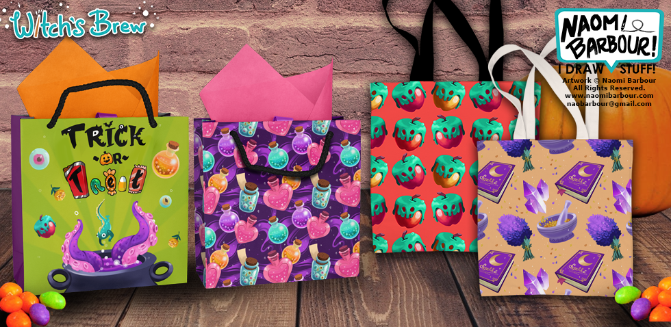 Witch's Brew Trick or Treat Bags Mockup