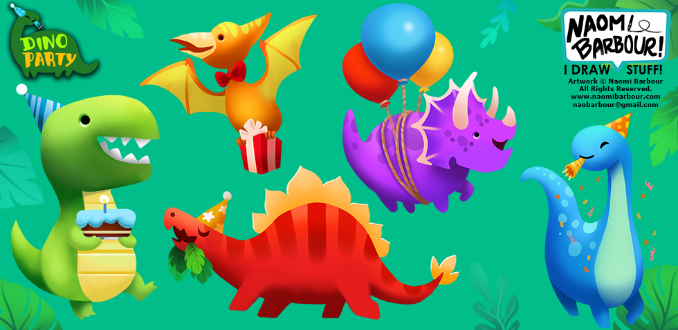 Dino Party Illustrations