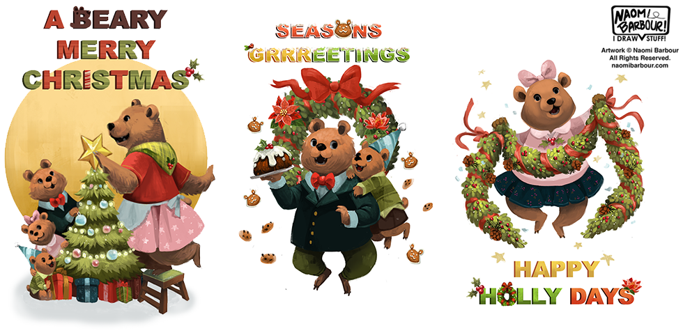 A Beary Merry Christmas Illustrations