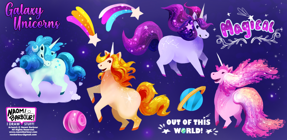 Galaxy Unicorn Illustrations