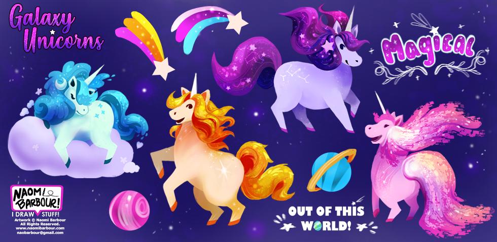 Galaxy Unicorn Illustrations