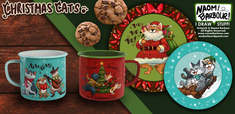 Christmas Cats Mugs & Plates Mock