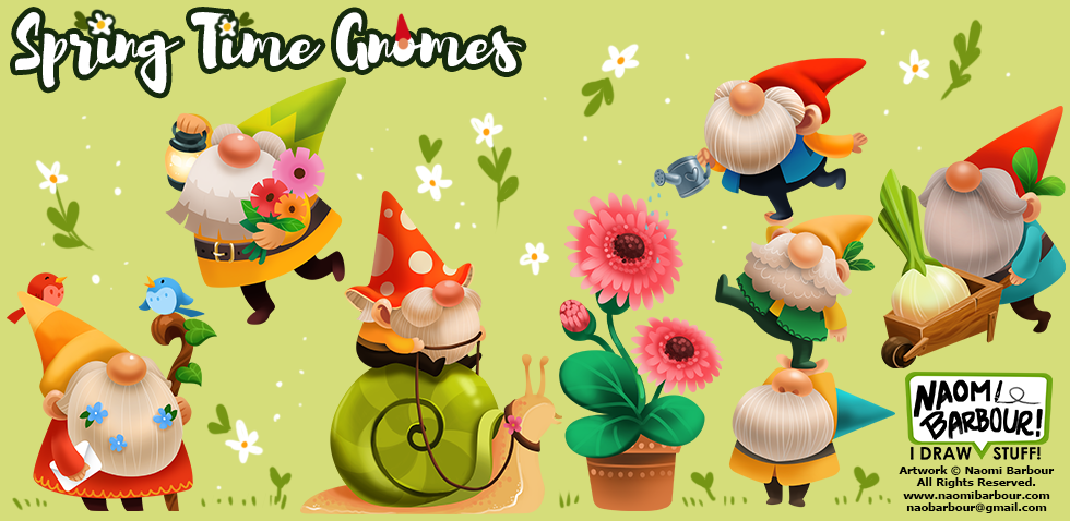 Spring Time Gnomes Illustrations