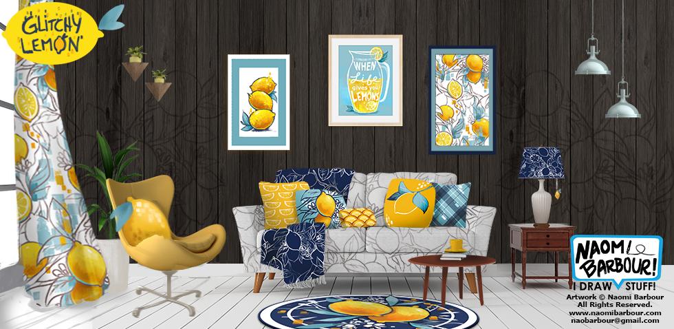 Glitchy Lemon Living Room