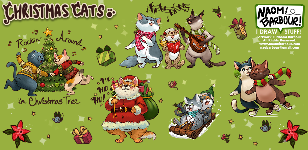 Christmas Cats Illustrations