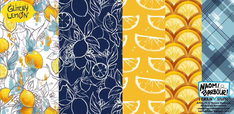 Glitchy Lemon Patterns