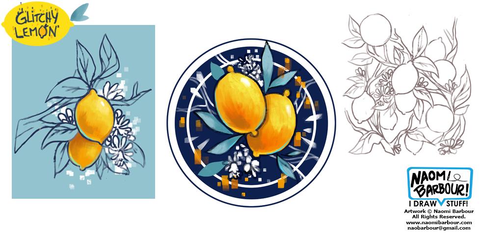 Glitchy Lemon Illustrations