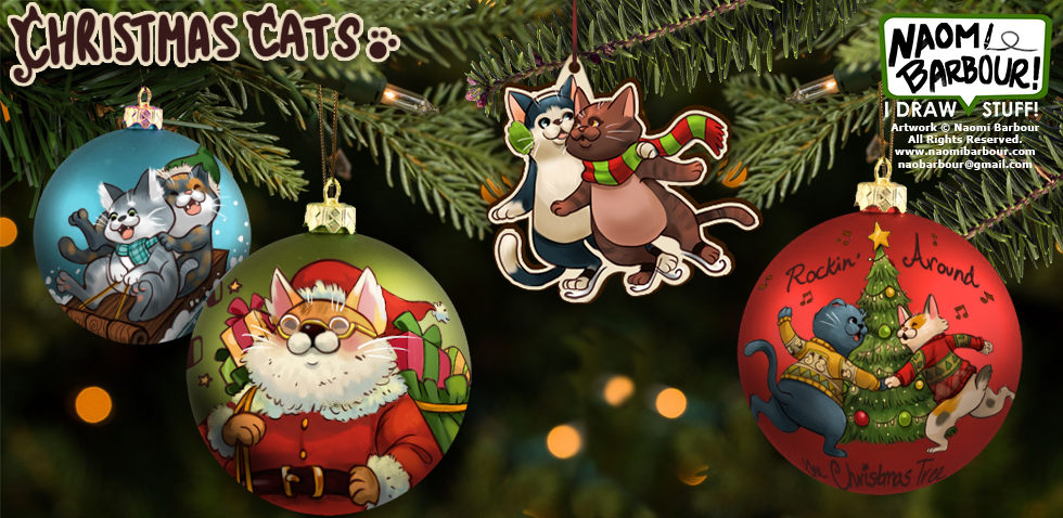 Christmas Cats Ornaments Mock