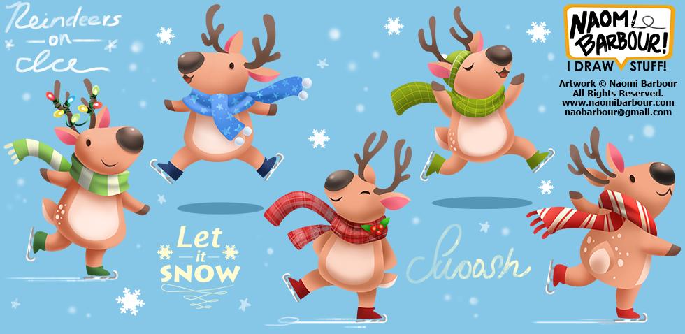 Reindeer on Ice Illustrations