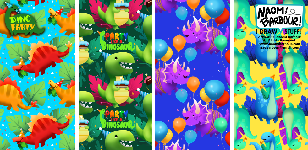 Dino Party Patterns