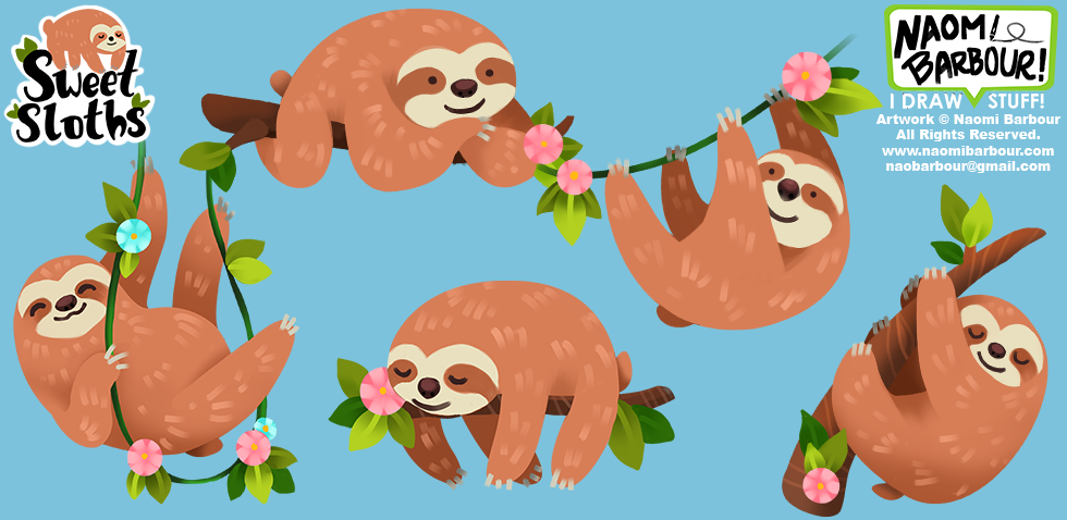 Sweet Sloths Illustrations