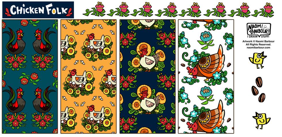 Chicken Folk Patterns