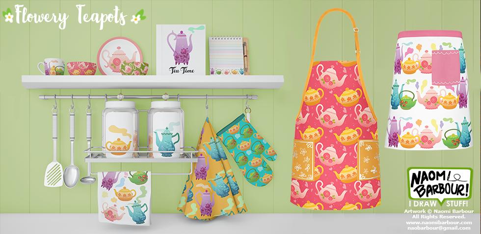 Flowery Teapots Product Mocks
