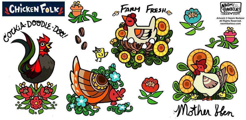 Chicken Folk Illustrations