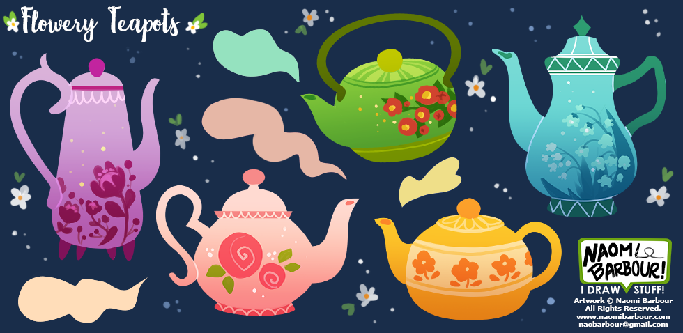 Flowery Teapots Illustrations