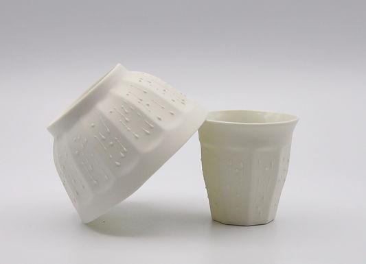Bol  goutte ou gobelet porcelaine, noir ou blanc
