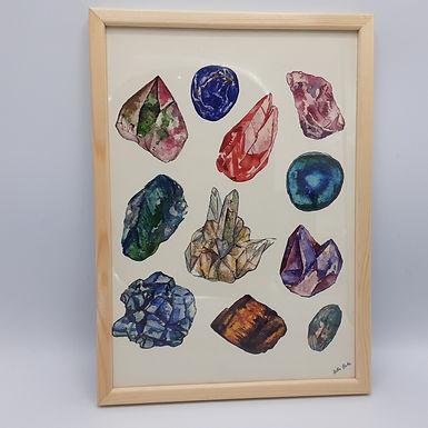 Affiche minéraux + cadre bois