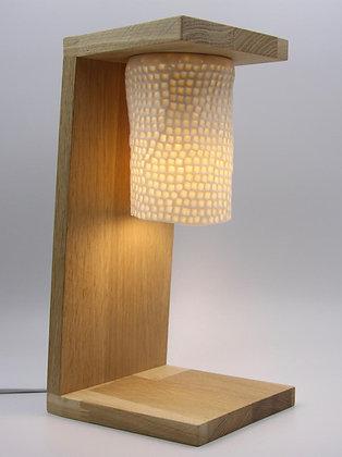 Luminaire de table, porcelaine et chêne
