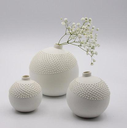 Vase rond perles noires, perles blanches ou strié