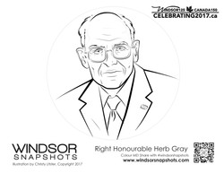 Windsor Snapshots - Rt Hon Herb Gray - Colouring Page