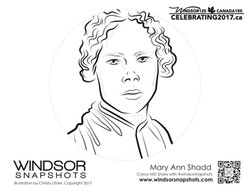 Windsor Snapshots - Mary Ann Shadd - Colouring Page