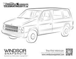 Windsor Snapshots - The First Minivan - Colouring Page