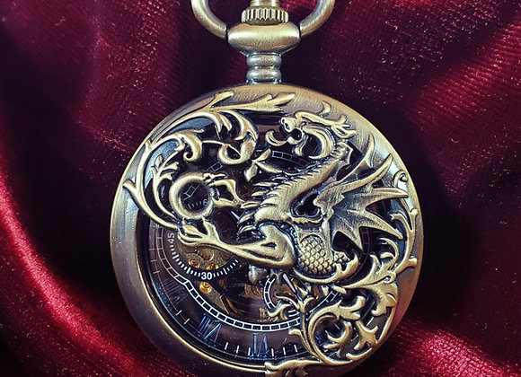 Bronze Dragon Mechanical Pocket Watch