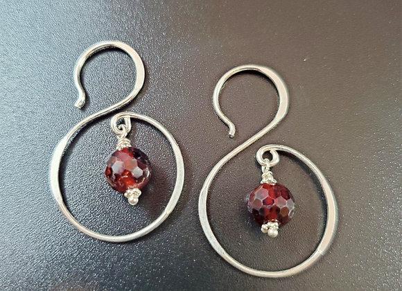 Garnet Swirl Earrings