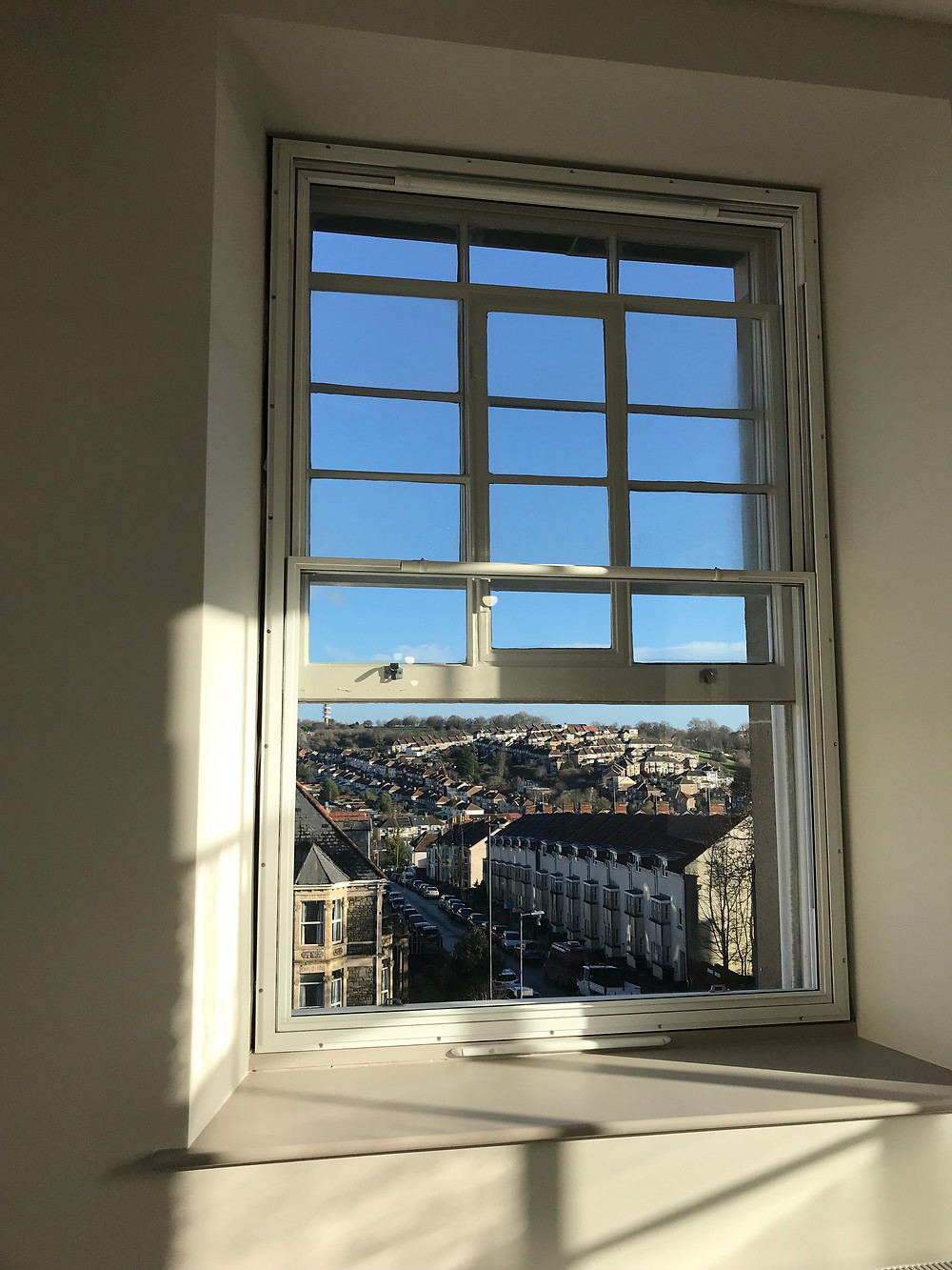 Internal vertical sliders secondary glazing