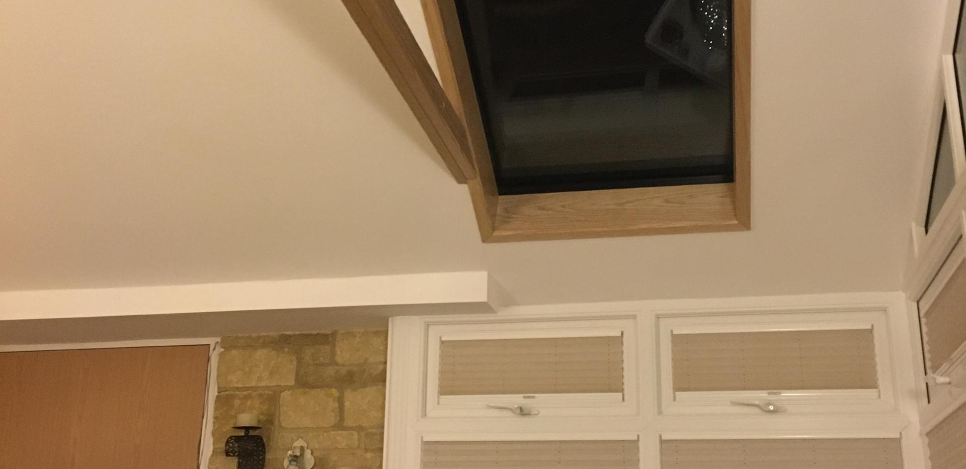 Finished ceiling showing Hybrid skylight