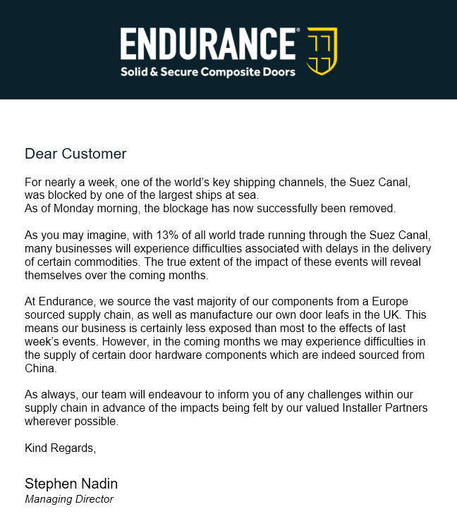 Notice re Suez canal impact on Endurance Doors supply chain