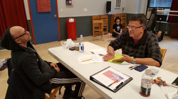Francisco discussing the script with Buck at our dance rehearsal
