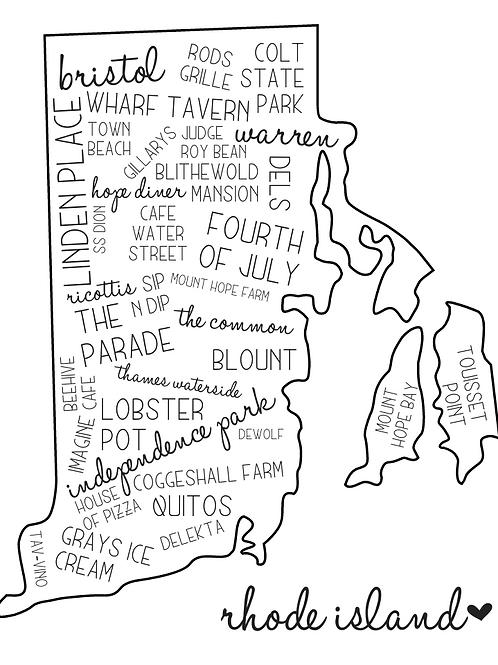 Rhode Island (Bristol/Warren) Location Collage with Outline, 8x10