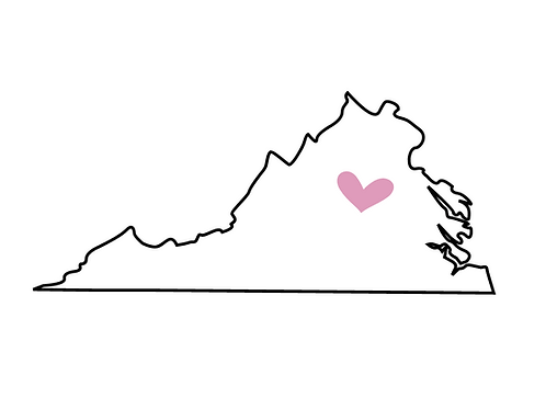 Virginia Location Love Print, Central, 8x10