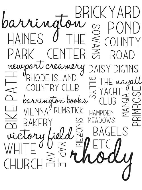 Rhode Island (Barrington) Location Collage, 8x10