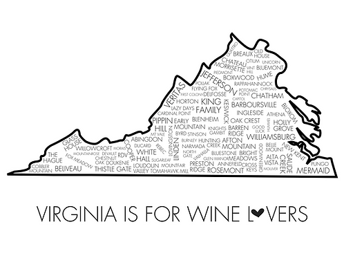 Virginia Is For Wine Lovers, 5x7