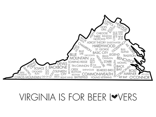 Virginia Is For Beer Lovers, 8x10