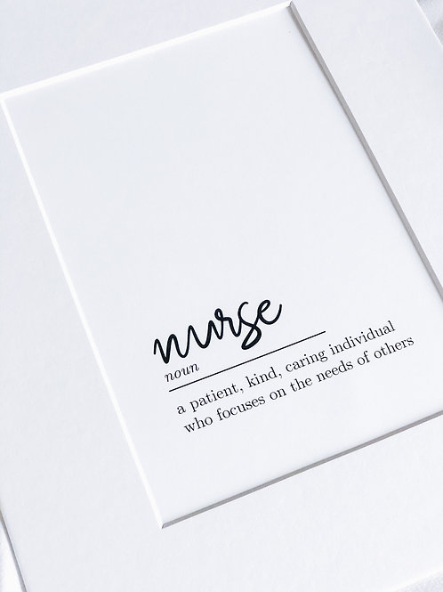 Nurse Definition Print