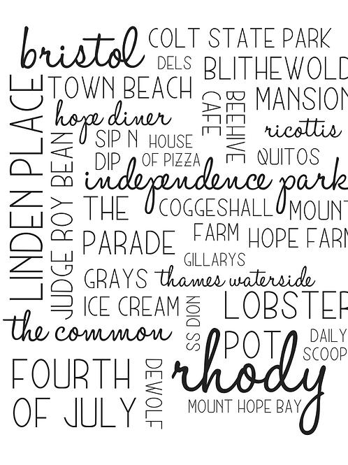 Rhode Island (Bristol) Location Collage, 8x10