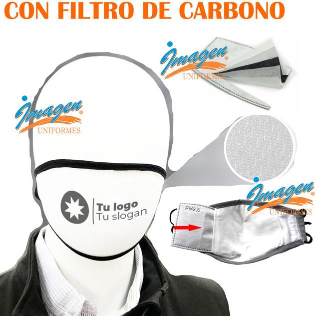 Cubrebocas tela sublimado con filtro carbono
