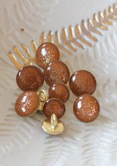 Bouton de bottine pailletté or miel 11mm - Lise Taylor