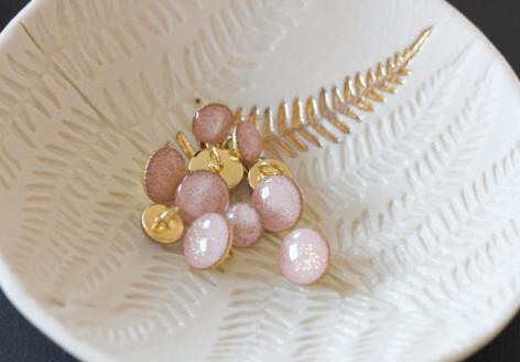 Bouton de bottine pailletté or vieux rose  - Lise Taylor