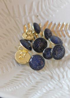 Bouton de bottine pailletté or bleu marine 11mm - Lise Taylor