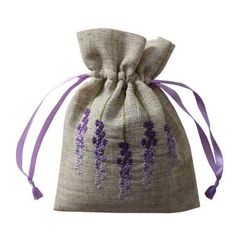 Linen Embroidered Lavender Bag