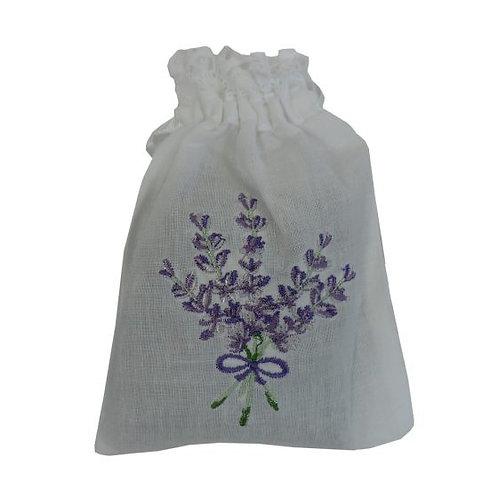 White Embroidered Lavender Bag