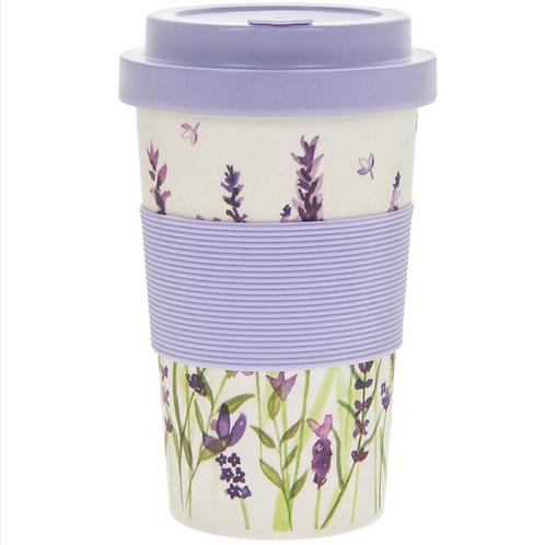 Lavender Design Bamboo Travel Mug