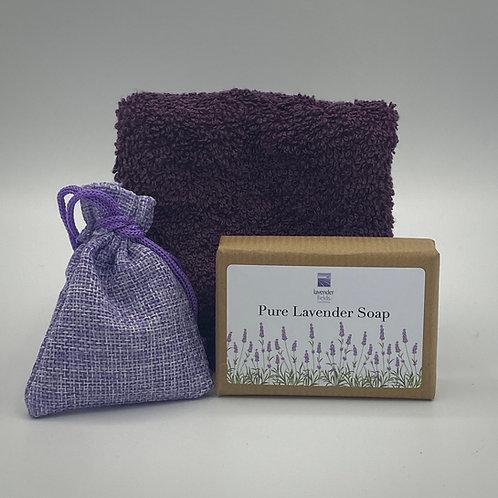Lavender Soap, Facecloth & Mini Lavender Bag