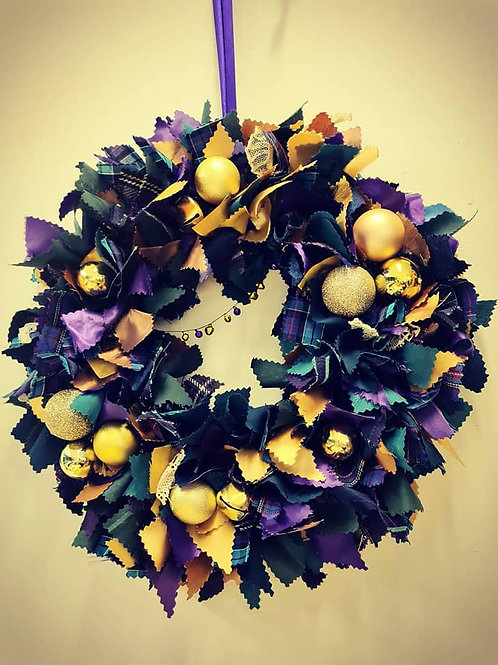 Festive Fabric Wreath - Purple and Gold - postage within Uk