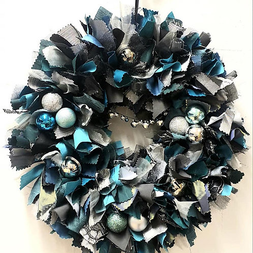 Festive Fabric Wreath - Silver & Teal (Edinburgh Collection Only)